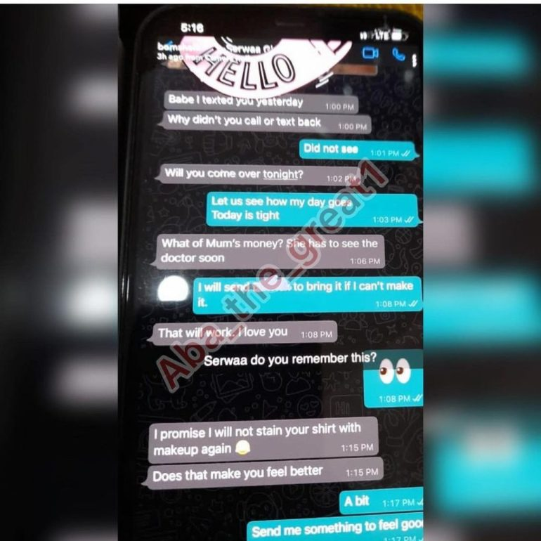 Leaked Chats of Serwaa Amihere And Sugar Daddy Pops Up