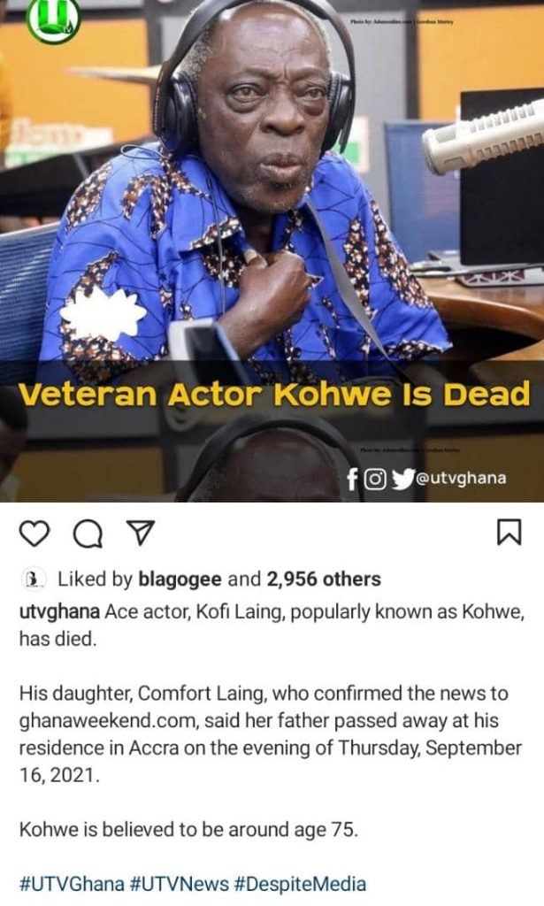 Veteran Actor Kohwe Reportedly Dead At The Age Of 75