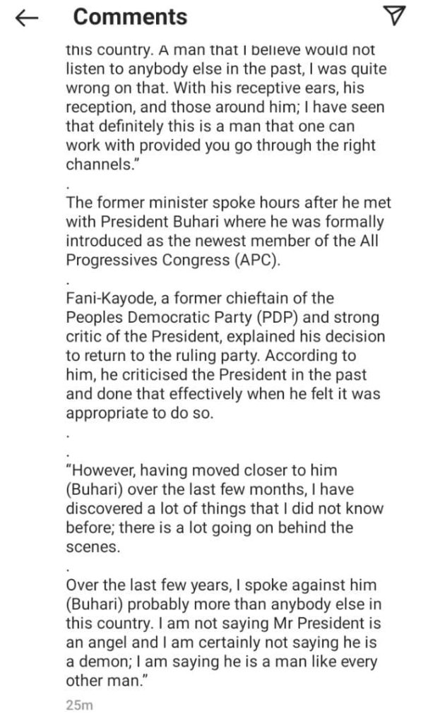 Femi Fani-Kayode Defends Himself For Joining APC After Criticizing Buhari – Says He Was Wrong