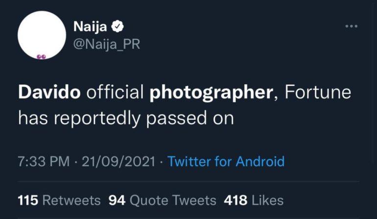 Nigerians Express Shock As Davido's Official Photographer, Fortune Dies