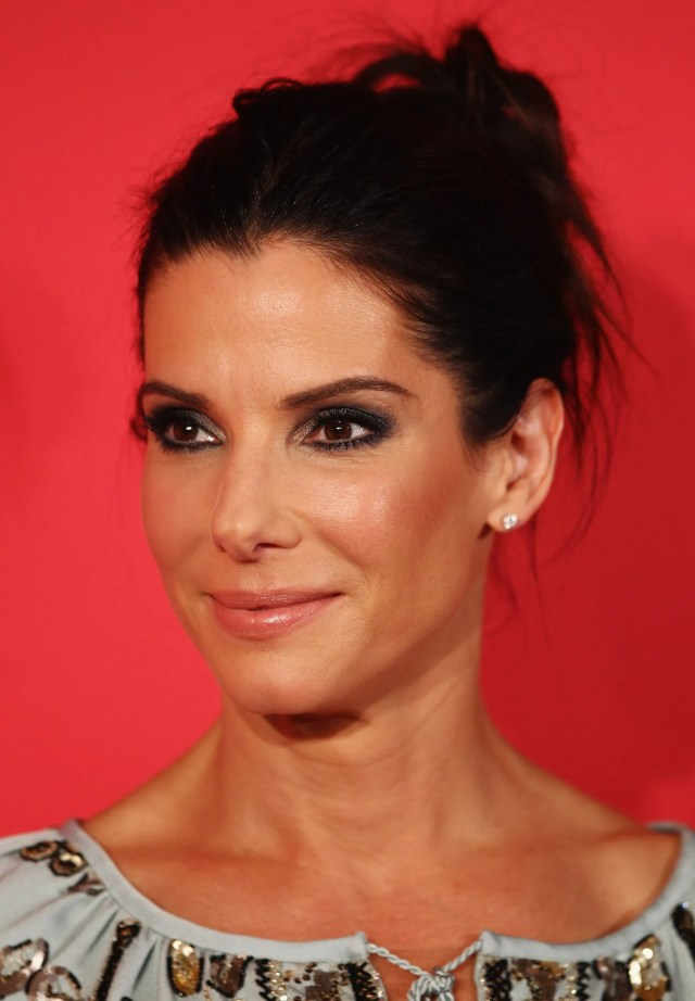 look—sandra bullock wears a messy ponytail just like you do