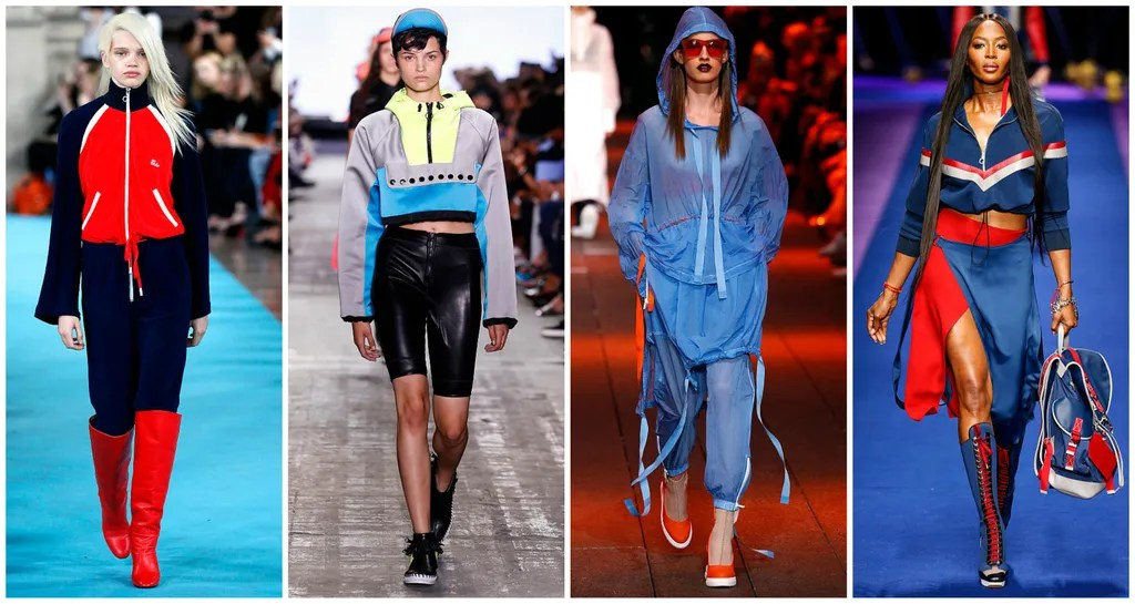 From left: Off-White, Alexander Wang, DKNY, Versace