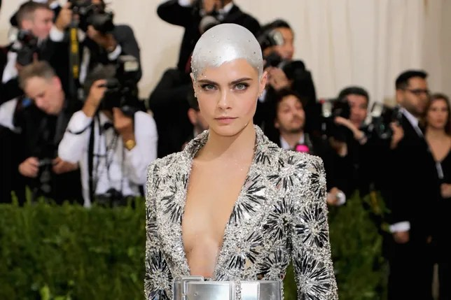 Met Gala 2017 Cara Delevingne Painted Her Bald Head