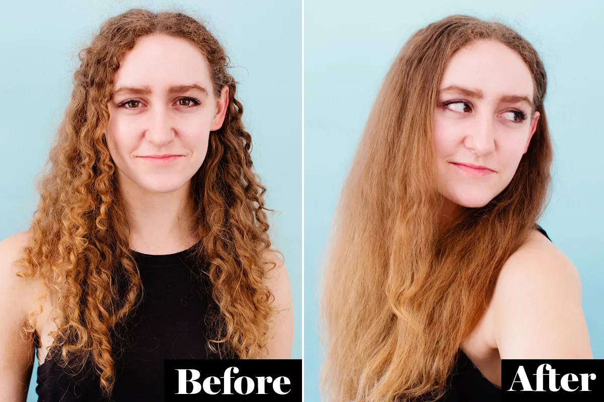This Straightening Brush Takes Me From Curly To Smooth In
