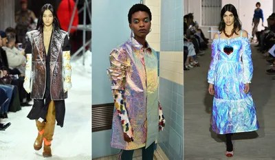 Designers are apparently thinking spaceagey for fall 2018 as iridescent almost holographic fabrics appear all over the...