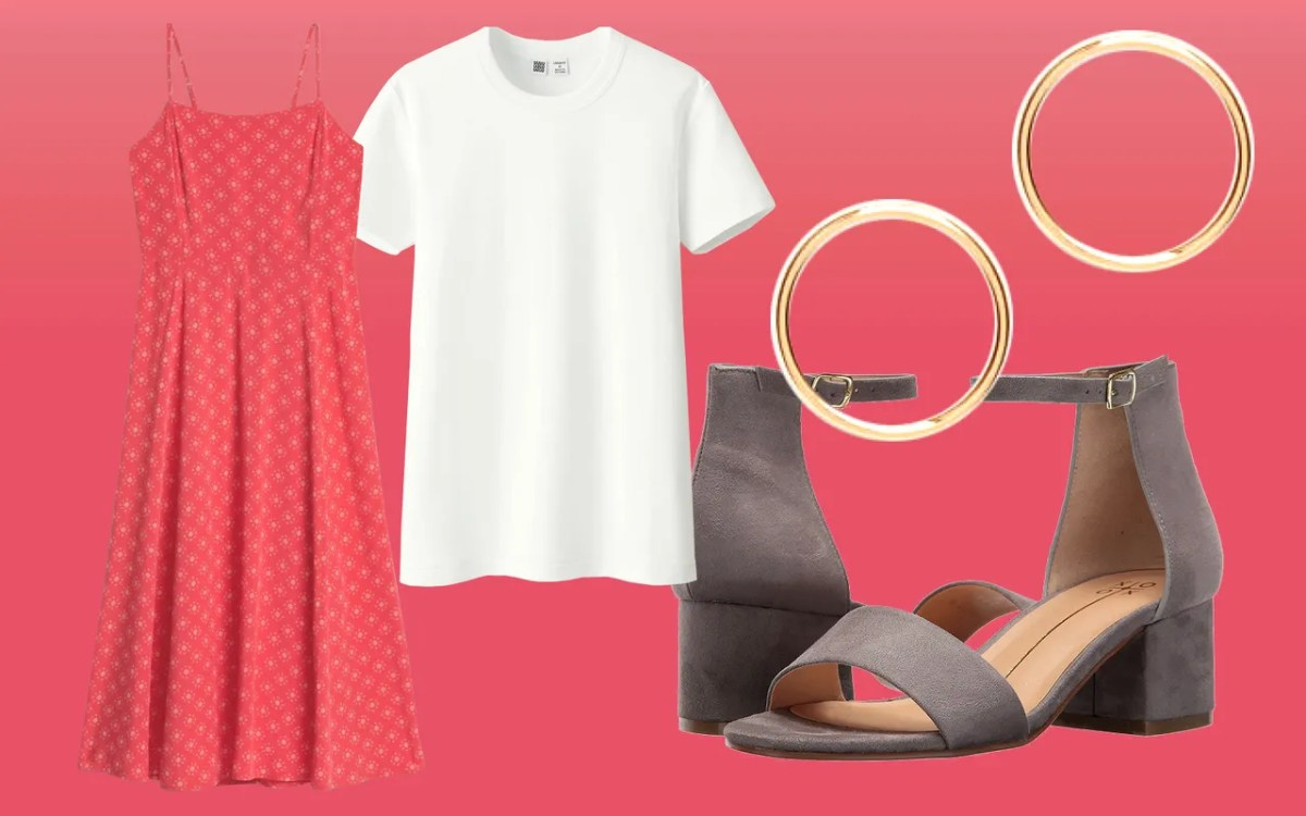 Layer a strappy sundress over a white T-shirt. Throw on some heeled sandals and sleek earrings for a fancy finish.