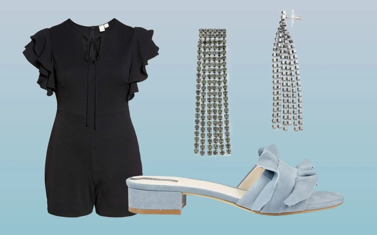 For dressier occasions, find a single garment that can be worn any which way—like a ruffled-sleeve romper, to be dressed up with dramatic, cascading earrings and colorful heels.