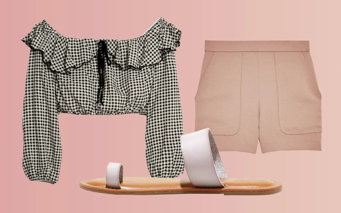For those hotter-than-hot days, a billowy, cropped blouse and high-waisted shorts are the easiest, no-fuss wardrobing solution.