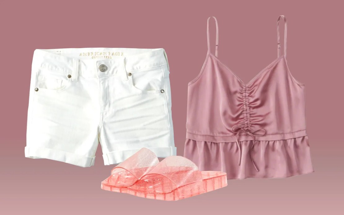 Nostalgia on a budget: A ruched cami, jelly sandals, and white cutoffs are reminiscent of the best summer outfits from the nineties.