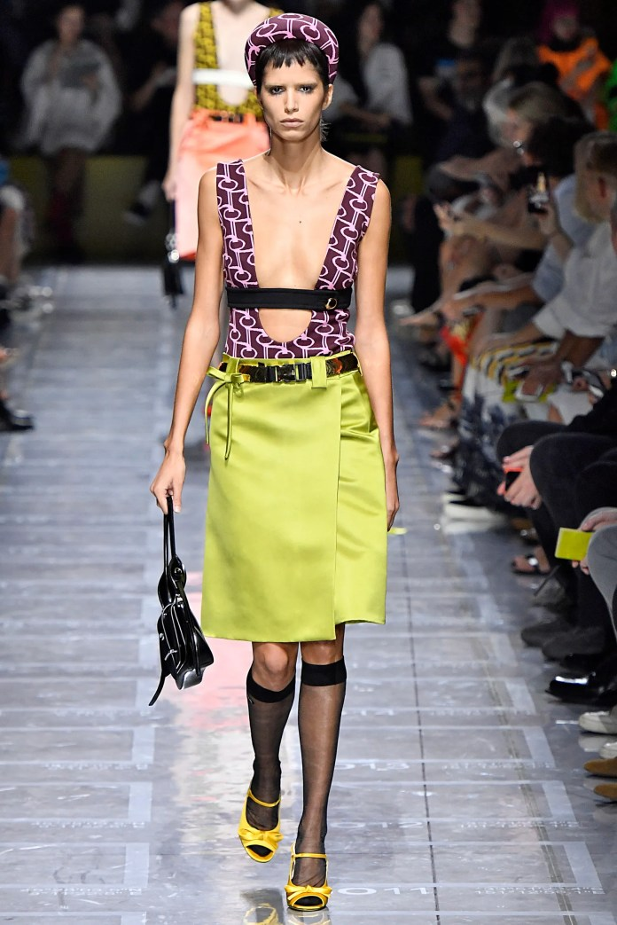 MILAN ITALY  SEPTEMBER 20 A model walks the runway at the Prada Ready to Wear fashion show during Milan Fashion Week...