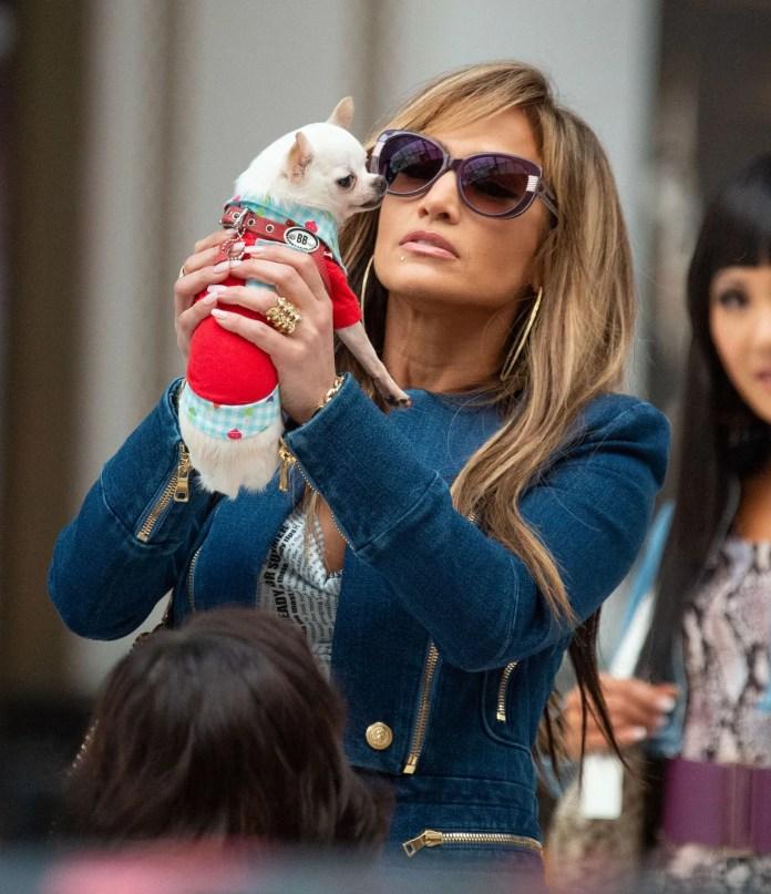 Jennifer Lopez  on the set of her new movie Hustlers.