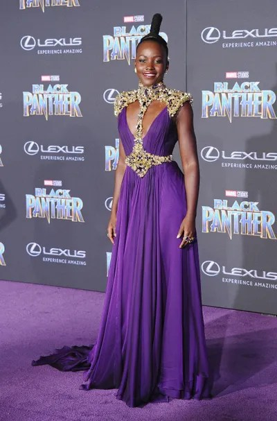 Lupita Nyong'o attends the Los Angeles Premiere Black Panther at Dolby Theatre on January 29 2018 in Hollywood California.
