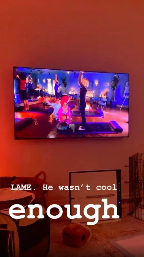 Ashley Tisdale takes a photo of her television screen while watching High School Musical with her husband.