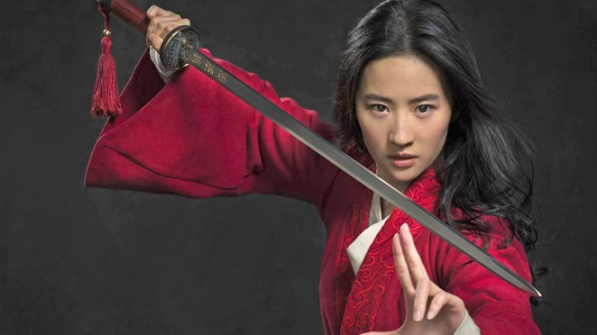 Mulan holding sword in a poster for Disney Plus