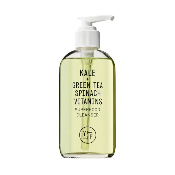 light green cleanser in a glass pump bottle