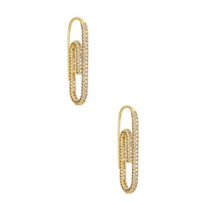 Luv AJ Pave Paper Clip Earrings