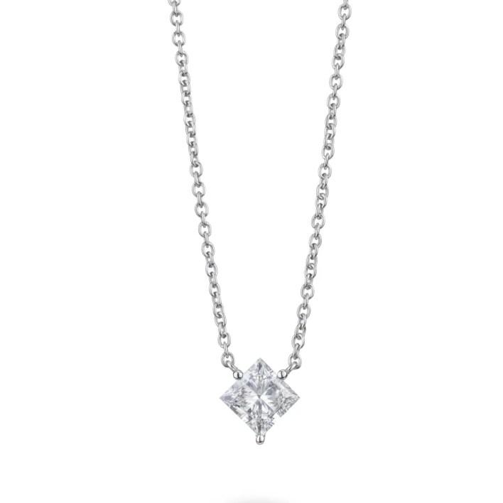 Lightbox Lab-Grown Diamond Princess Cut 14k Gold Pendant