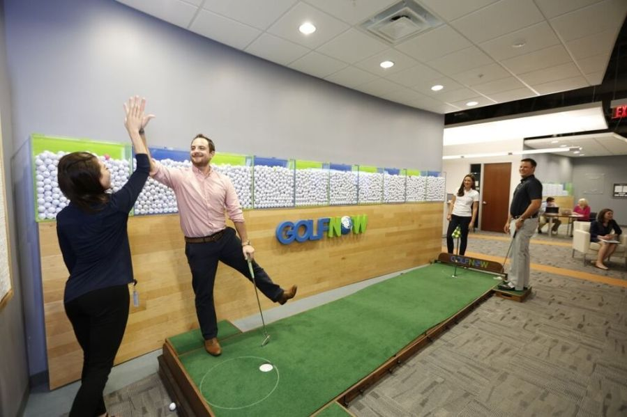 Putting contest at GolfNow He      GolfNow Office Photo   Glassdoor Putting contest at GolfNow Headquarters   GolfNow   Orlando  FL