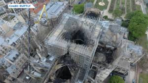 Notre Dame fire: Drone footage shows extent of damage (01:23)
