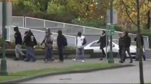 Rally at Surrey court house ahead of RCMP officer appearance (01:40)