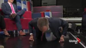 Chris Gailus does the 22 Push Up Challenge on the Global News at Noon