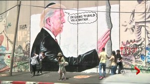 Donald Trump parodied on Israel's security border wall