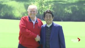 Marine One lands on course as Trump, Abe play a round of golf
