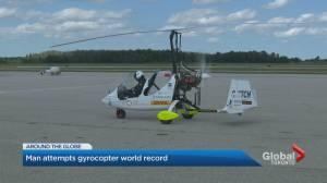 British adventurer flying around the world in gyrocopter lands in Canada
