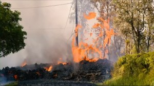 Video captures lava spewing into air from ground in Hawaii community