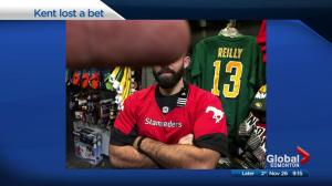 Global Edmonton anchor shows his love of Calgary and the Stampeders after losing bet… sort of