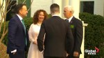 U.S. Vice-President Mike Pence greets Irish PM Leo Varadkar and his partner