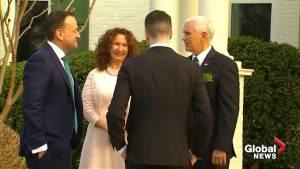 U.S. Vice-President Mike Pence greets Irish PM Leo Varadkar and his partner