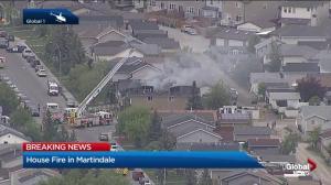 Global1 video of a fire in northeast Calgary