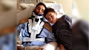 Boy Scout saves father crushed by boulder