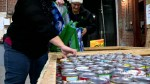 Filling hampers at the Saskatoon Food Bank