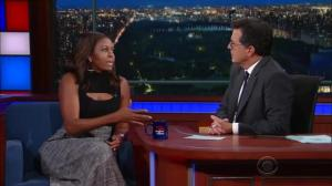 Michelle Obama does spot-on impression of Barack Obama on 'The Late Show'