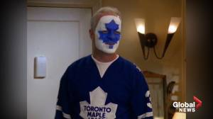 "Leafs fan inserts himself into scene from Seinfeld, replacing Puddy's ""Devils"" logo with a Leaf"