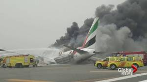 Passengers scramble to safety after Emirates Airlines jet crashes at Dubai airport