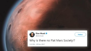 Elon Musk tweet leads Flat Earth Society to claim Mars is a sphere