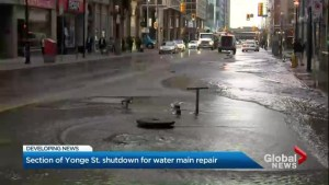 Southbound Yonge Street in downtown Toronto still closed for watermain repair