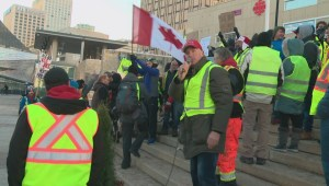 Competing protests clash at Edmonton's Churchill Square