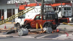 Woman injured after Jeep strikes hydro pole on Lansdowne Street in Peterborough