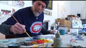 Peterborough artist John Climenhage captures hockey's speed and grit on canvas (02:37)
