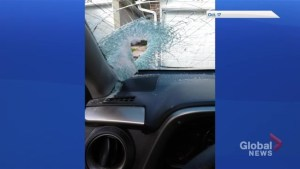 Newmarket man narrowly avoids catastrophe as concrete block smashes through windshield