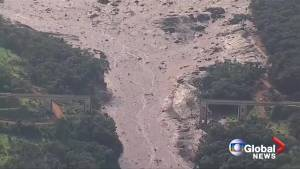Aerial footage shows extensive damage from dam burst in Brazil