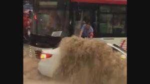 Bus driver praised for helping save three lives during flooding in China