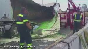 Tractor trailer spills mayo and salad dressing on DVP ramp to 401