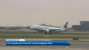 Air Canada, WestJet raising checked baggage fees