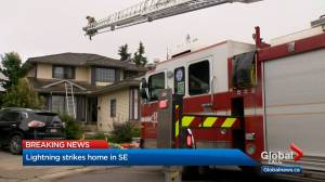Calgary house catches fire after lightning strike (01:19)