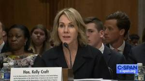 Kelly Craft questioned on 300 days absent from post as ambassador to Canada.